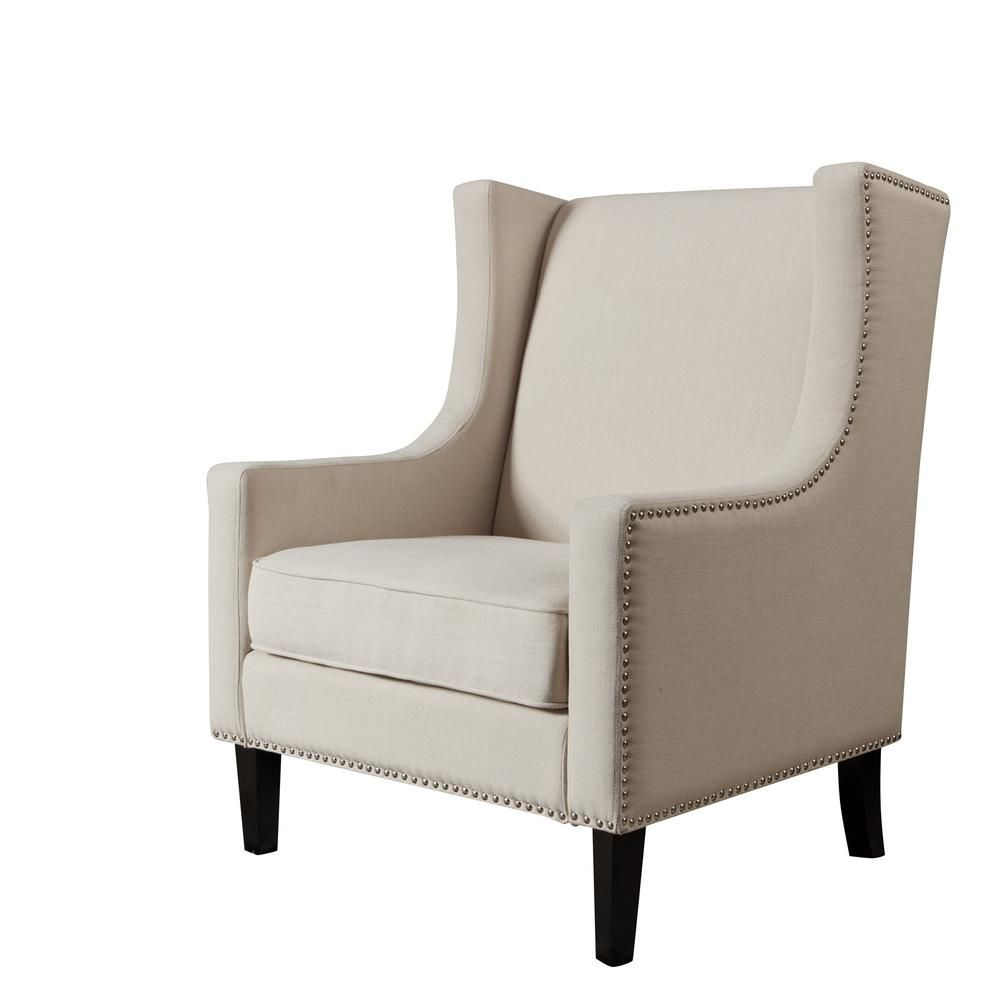 Lokatse Beige Polyester Accent Chair Mid Century Modern Living