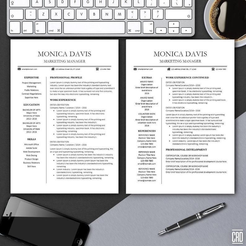Resume template for word modern resume design pages
