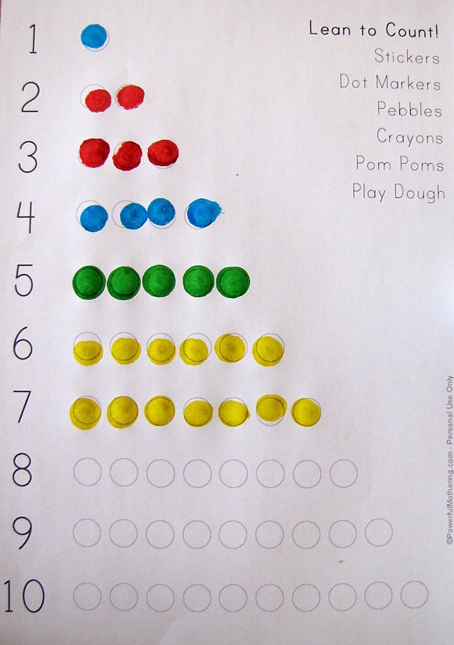 Learn to Count! (1-10 Printable)   Count, Math and Play dough