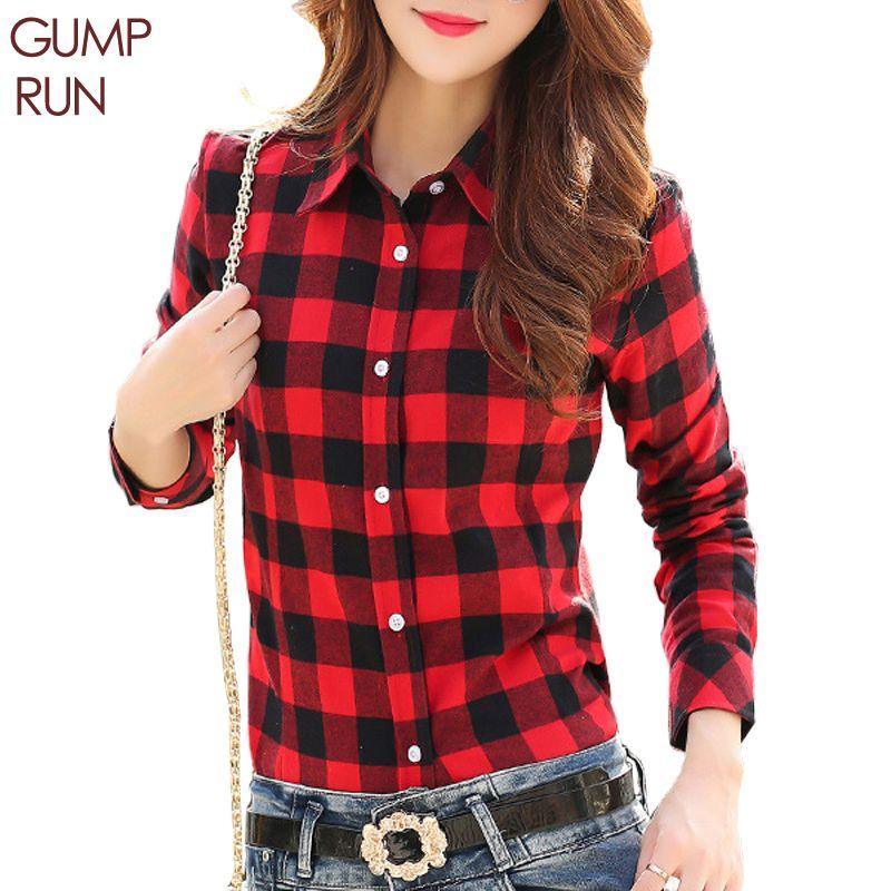 Gumprun Fashion Women Plaid Shirt Flannel Shirt Long