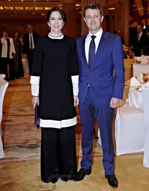 Crown Princess Mary and Crown Prince Frederik of Denmark attended a reception hosted by ambassador of Denmark in Saudi Arabia on February 29, 2016 in Riyadh, Saudi Arabia.