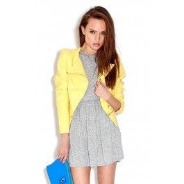 Yellow PU Jacket with silver zips  ♥ Spring/Summer  ♥ Fabric: 57% Polyeutherane, 43% Viscose