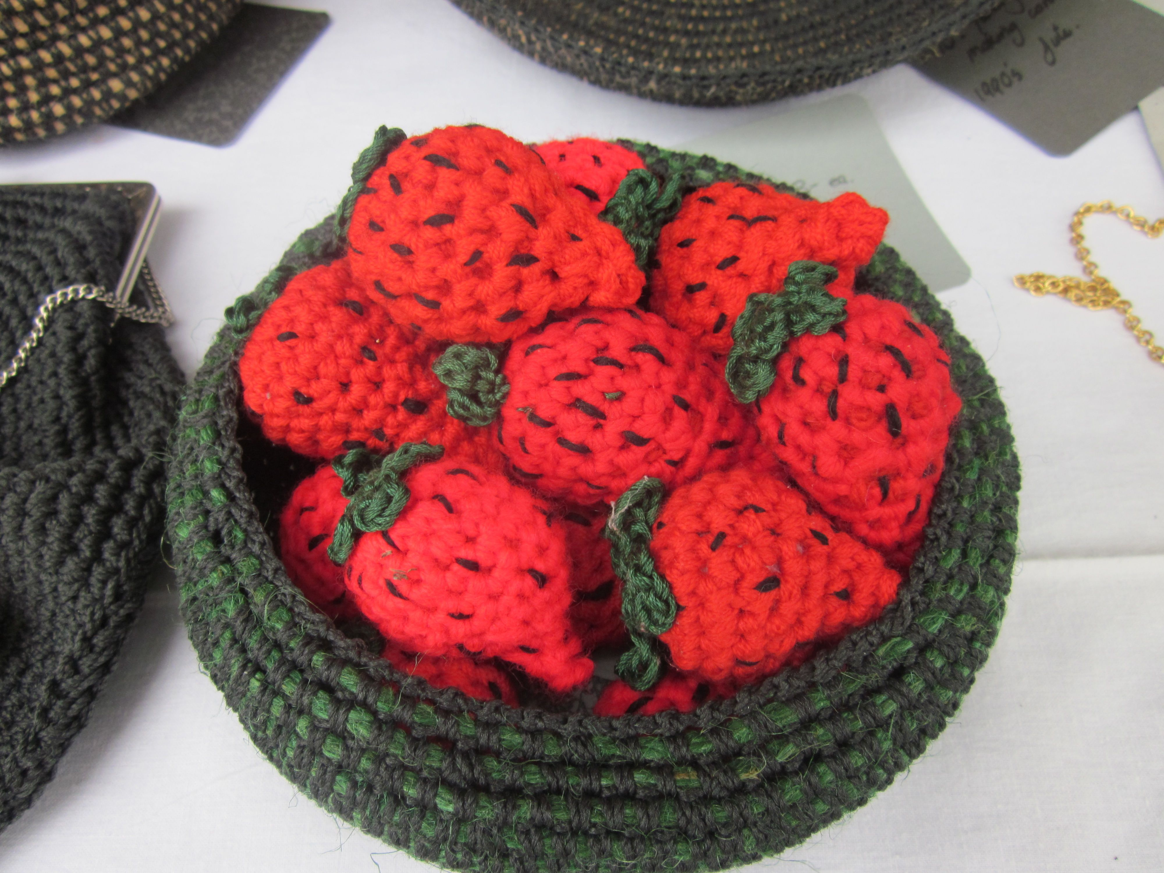 Salad Days Prospect Art Gallery Exhibition 2013 Fishing net cord and jute bowl with Crocheted strawberries