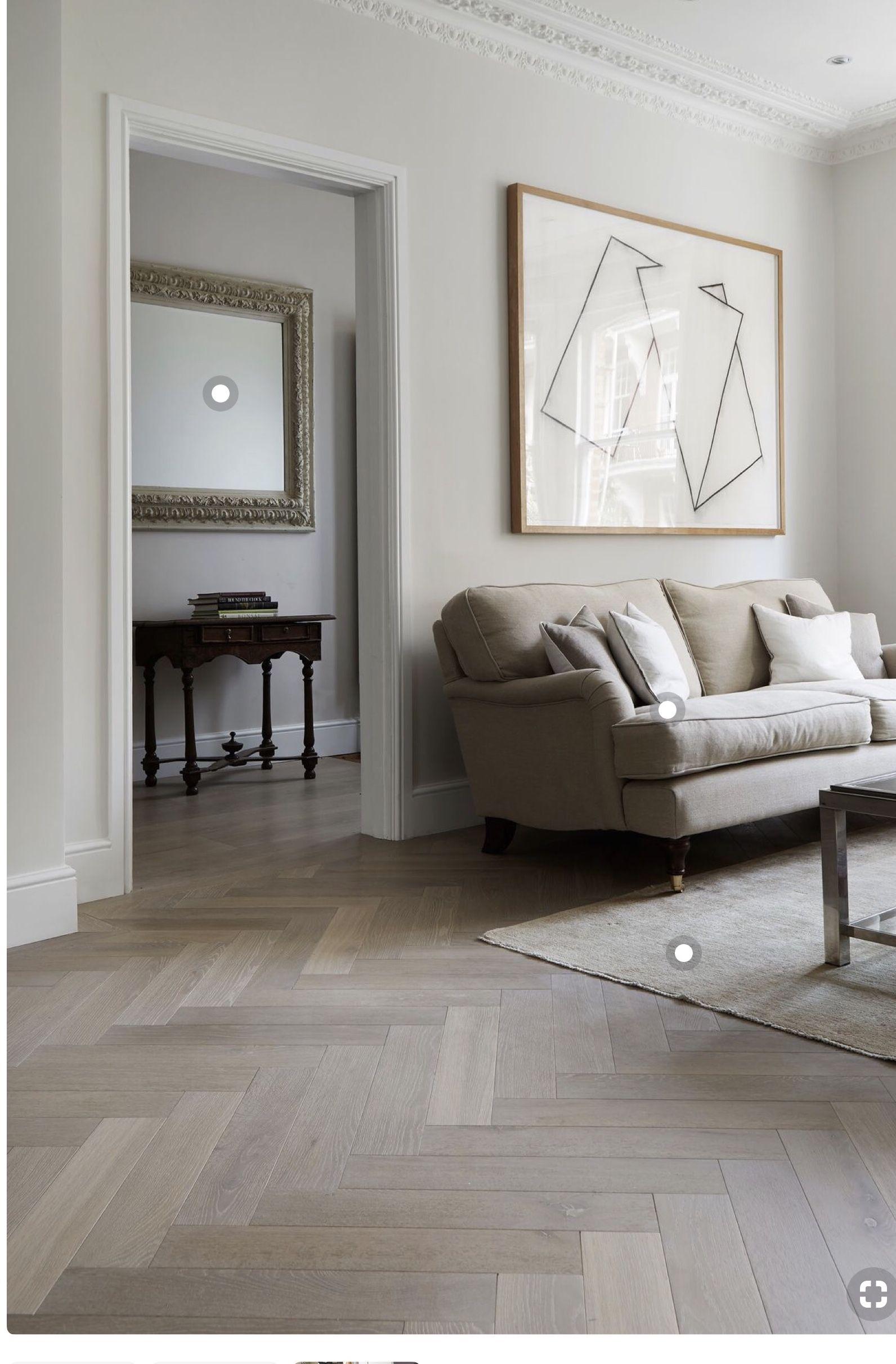 Herringbone wood floors. Living room flooring, White oak