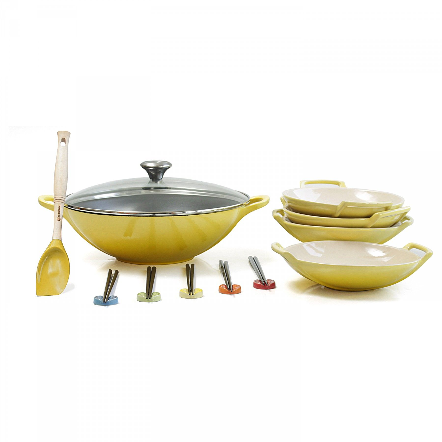 le creuset soleil yellow enameled cast iron wok with stoneware wok dish set and serveware woks. Black Bedroom Furniture Sets. Home Design Ideas