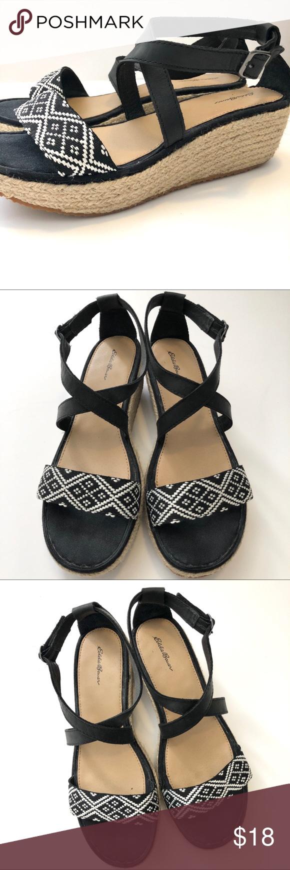 Eddie Bauer Black & White Wedge Sandals White wedge
