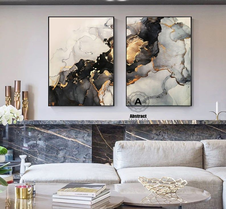 Large Black And Gold Marble Wall Decor On Canvasset Of 2 Etsy Black And Gold Marble Gold Wall Art Marble Wall