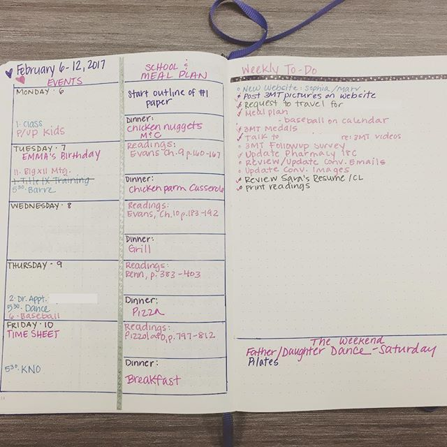 This week's spread. Changed it up since I have a lot more to do's in my future. #bulletjournal