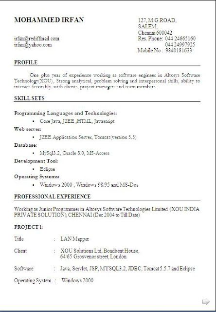 best resume for it professional free download Sample Template