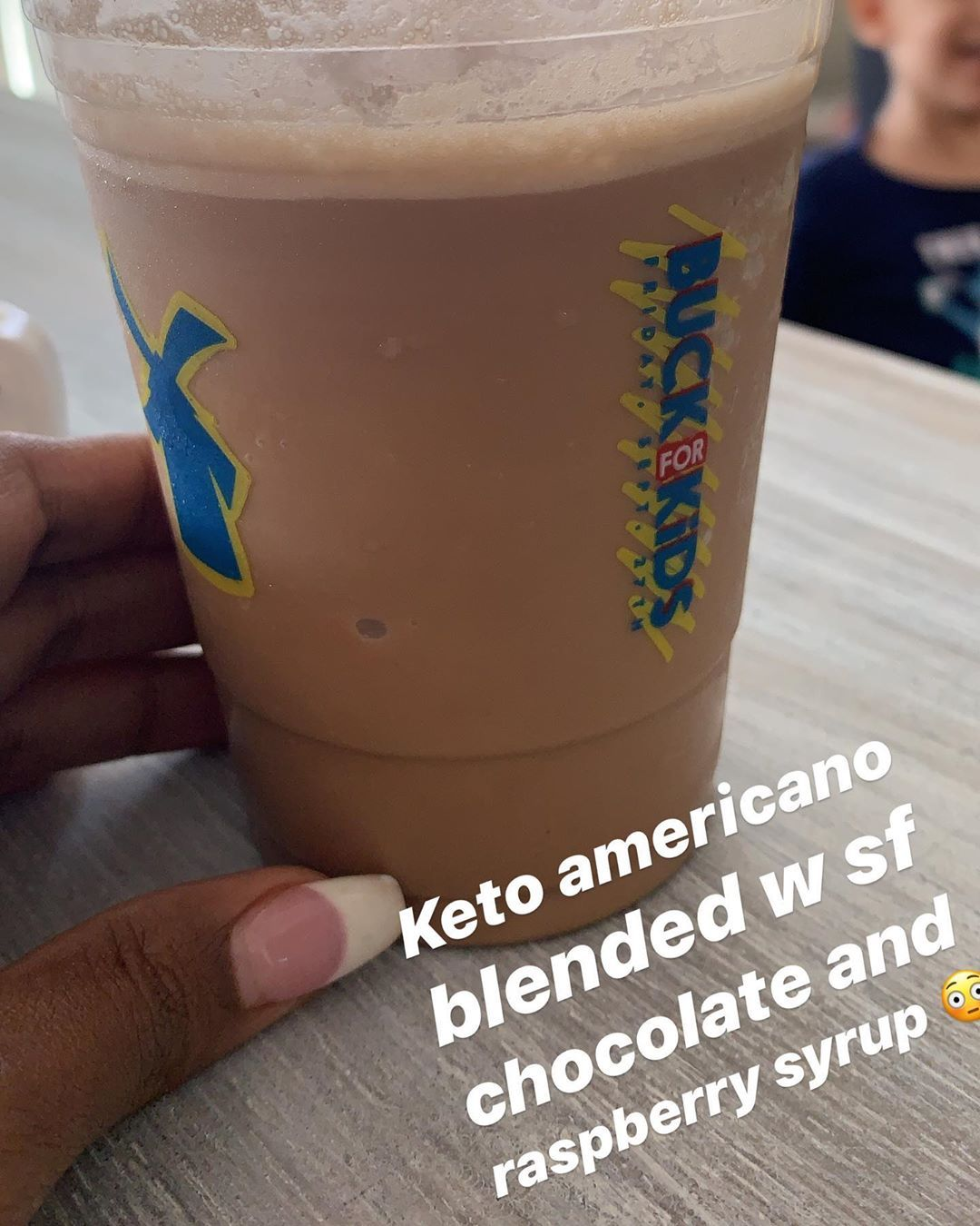 Keto @ dutchbros!! Sugar free chocolate and raspberry syrup in a blended iced americano with heavy w...