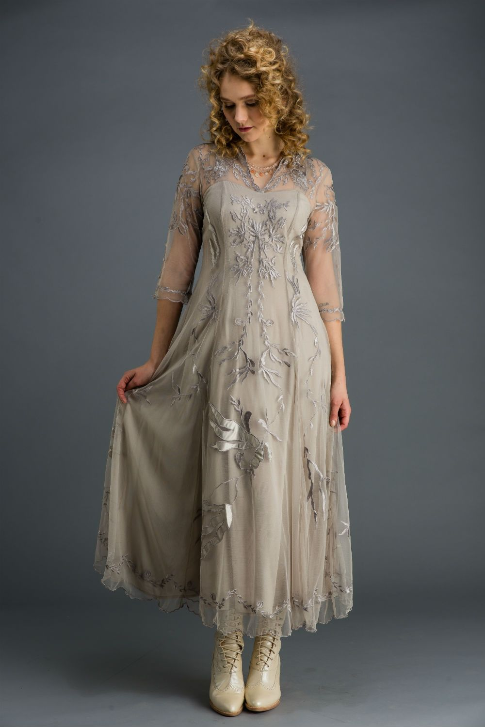 Nataya vintage inspired special occasion dress silver titanic