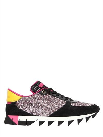 DOLCE & GABBANA 20Mm Suede & Glitter Sneakers, Black/Pink. #dolcegabbana #shoes #sneakers