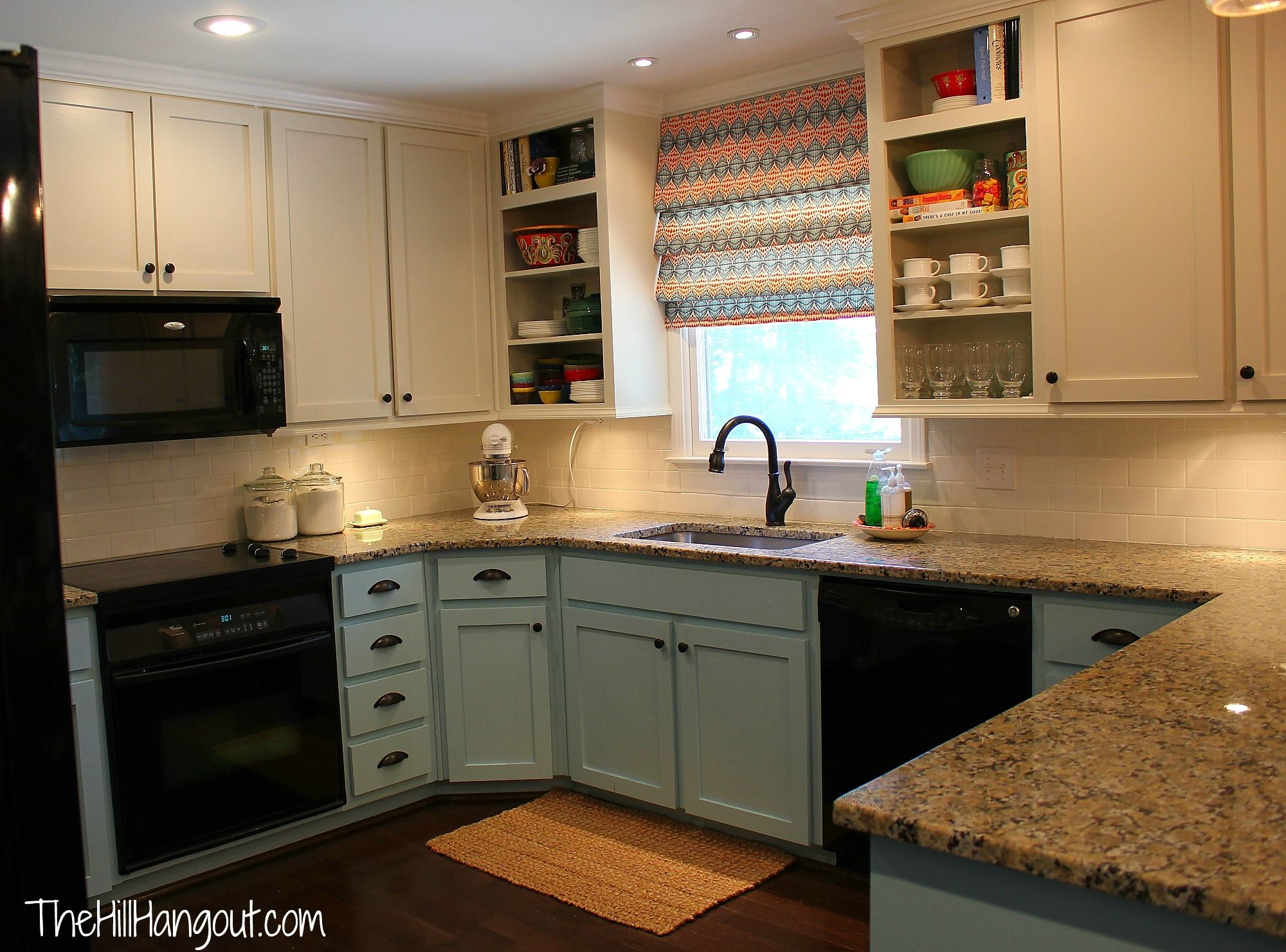White Top Cabinets Pale Blue Lower Black Appliances Good Temporary Fix