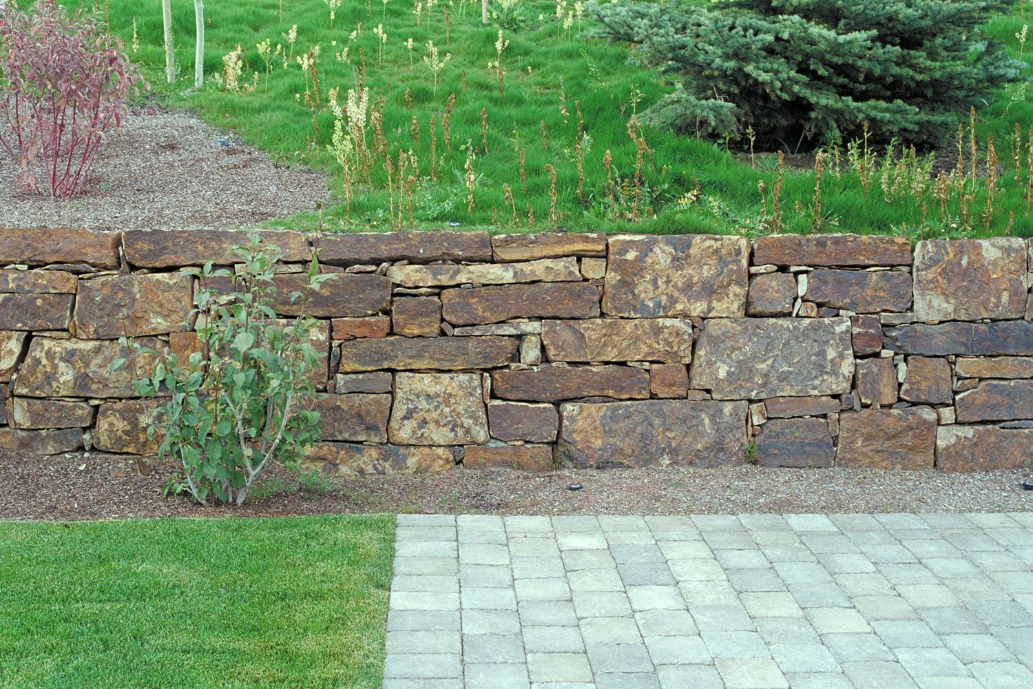 Dry Stack Fieldstone Retaining Wall : Natural stone dry stack retaining wall cut sheet tile