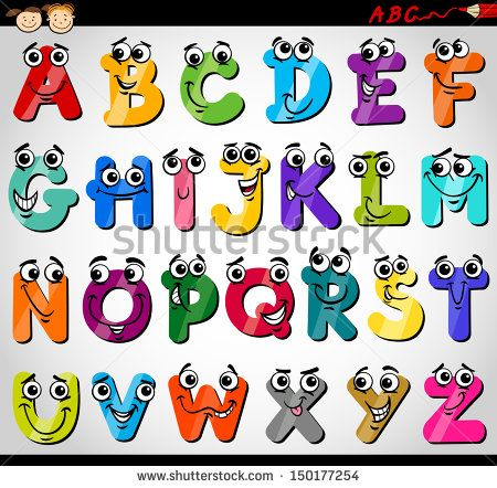 Cartoon Vector Illustration of Funny Capital Letters Alphabet for