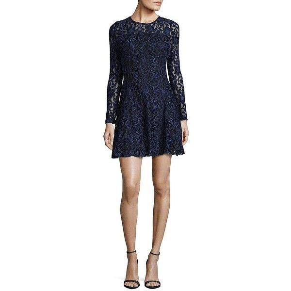 Design Lab Lord Taylor Long Sleeved Fit And Flared Lace