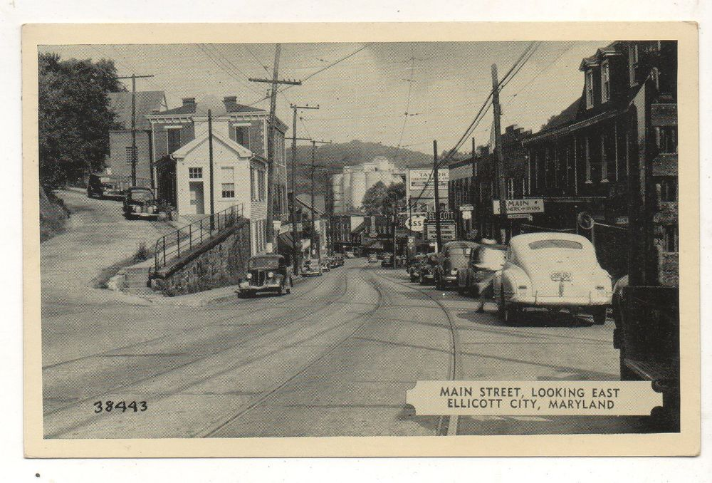 Old Cars On Main Street Ellicott City Md Vintage 1951 Maryland Postcard Ellicott City City Ellicott City Md