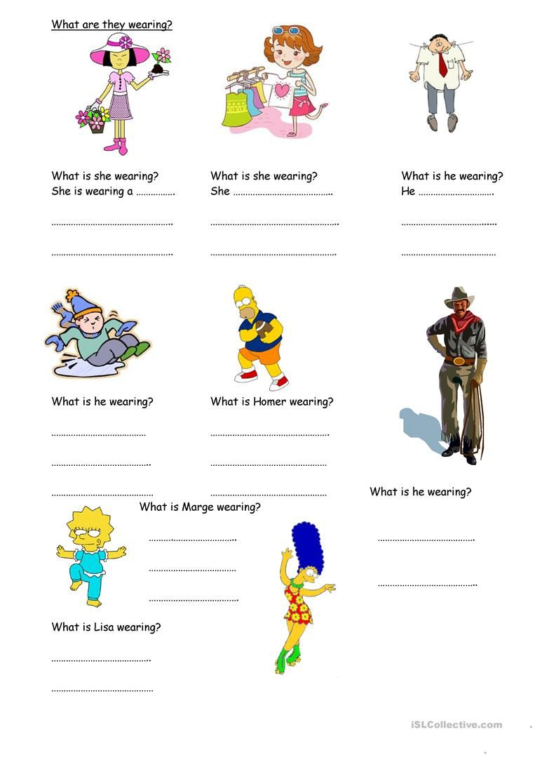 101 FREE ESL wear worksheets   Clothes worksheet [ 1079 x 763 Pixel ]