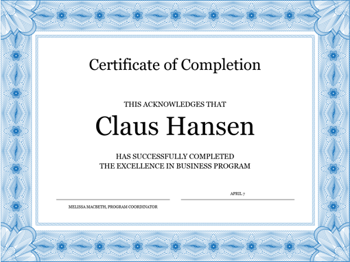 Certificate Of Completion Blue  Franaises