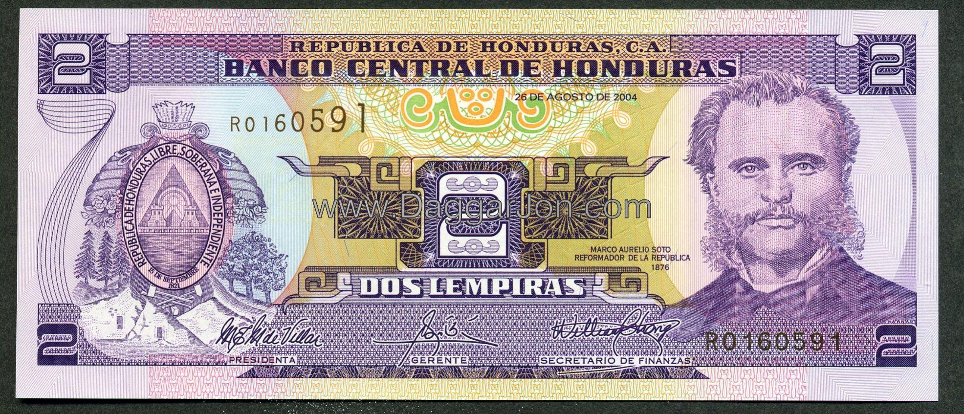 Honduras Money 2 Lempiras 2004 Obverse P 80a