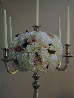 Sia White Hydrangea Peony Pink Cream Rose Artificial Wedding Flowers On A Candelabra