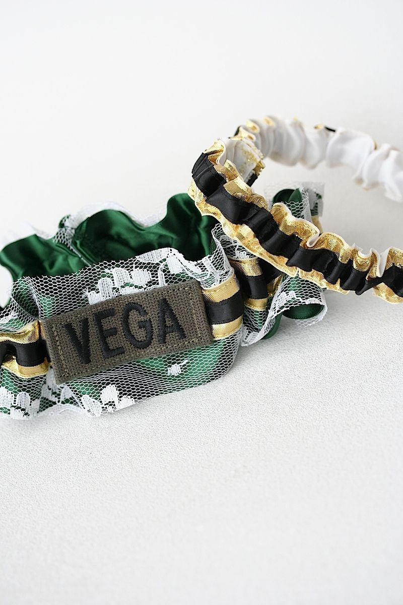 Custom Ivory Lace Green Black Gold Military Name Tape Wedding Garter Set
