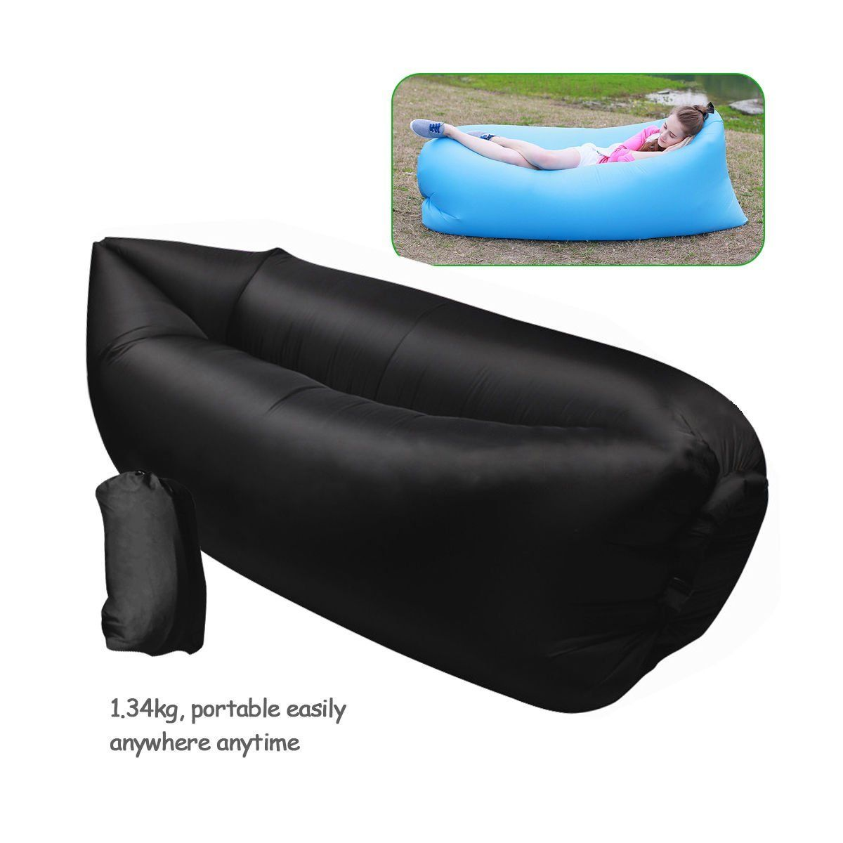 Inflatable Outdoor Air Sleep Sofa Couch Portable Furniture Sleeping Hangout  Lounger Imitate Nylon External Internal PVC