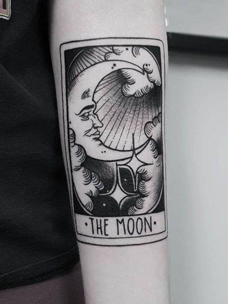 Moon tarot tarotcard moon blackandwhite tarot tattoo