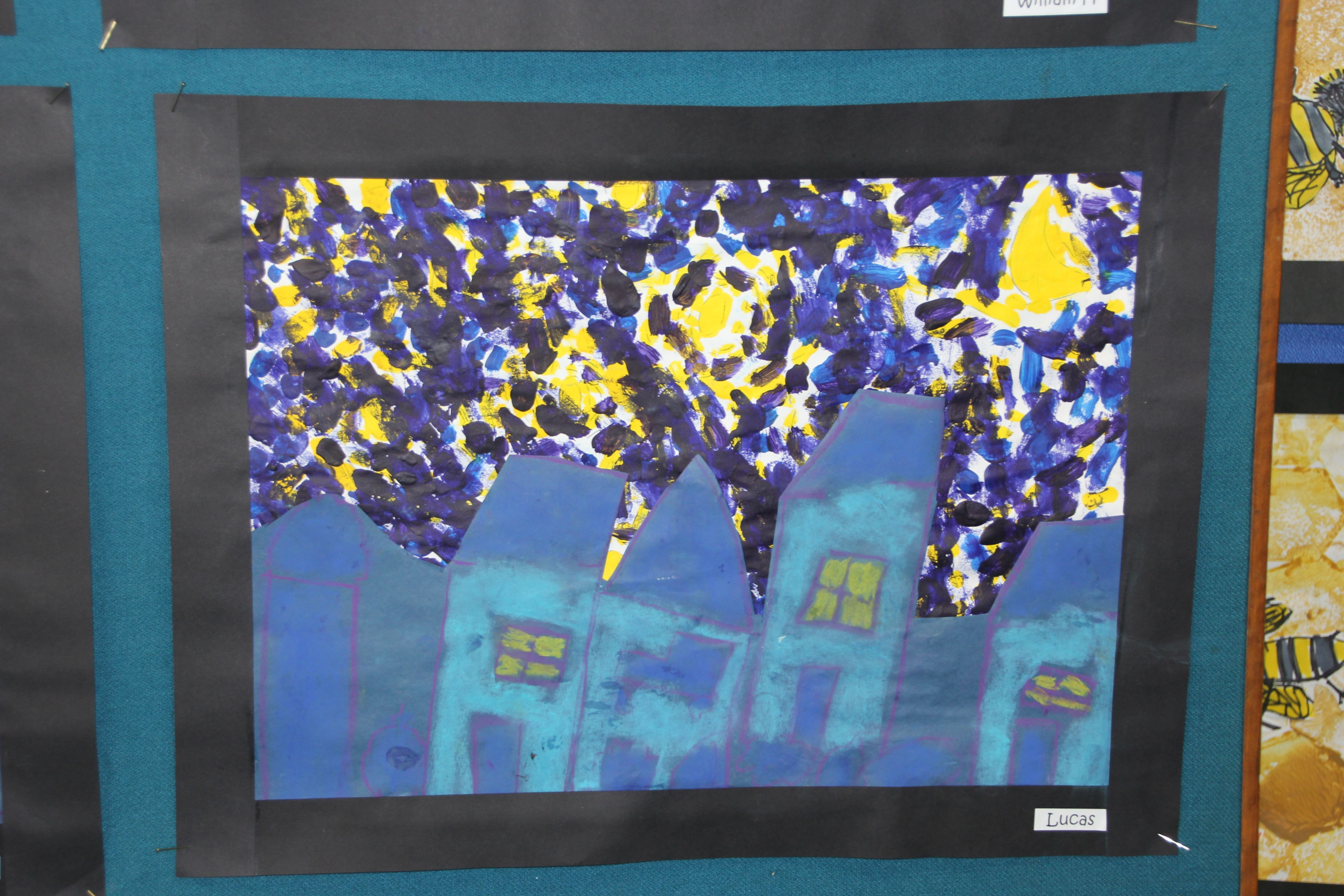A Starry Starry Night in My Street Created after studies of Vincent Van Gogh's Starry Night. Acrylic & Pastel Year 1
