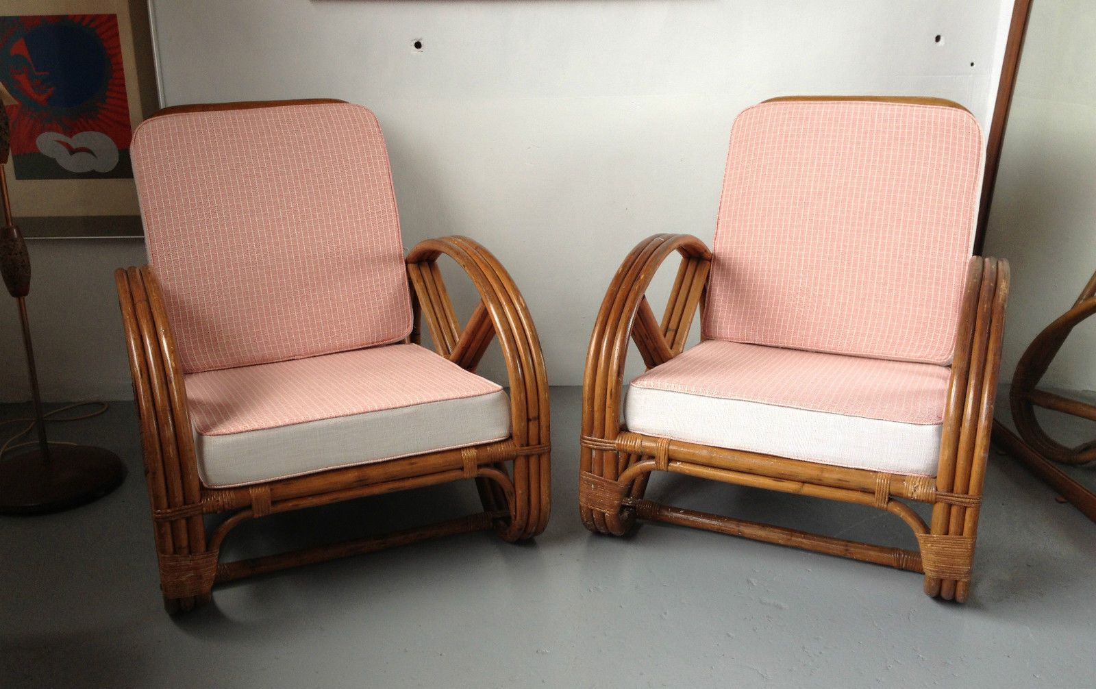 Cane Patio Pretzel Art Deco Chairs New Wool Upholstery