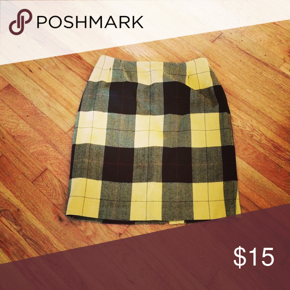 Plaid Wool Pencil Skirt August 2017