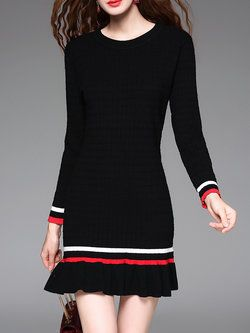Black Sheath Casual Cotton-blend Mini Dress