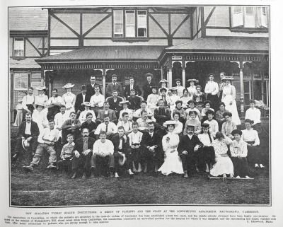 """A group of patients and the staff at the Consumptive Sanatorium, Maungakawa, Cambridge.  """"The sanatorium at Cambridge at which the patients are subjected to the open air system of treatment has been established about two years and the results accredit..."""