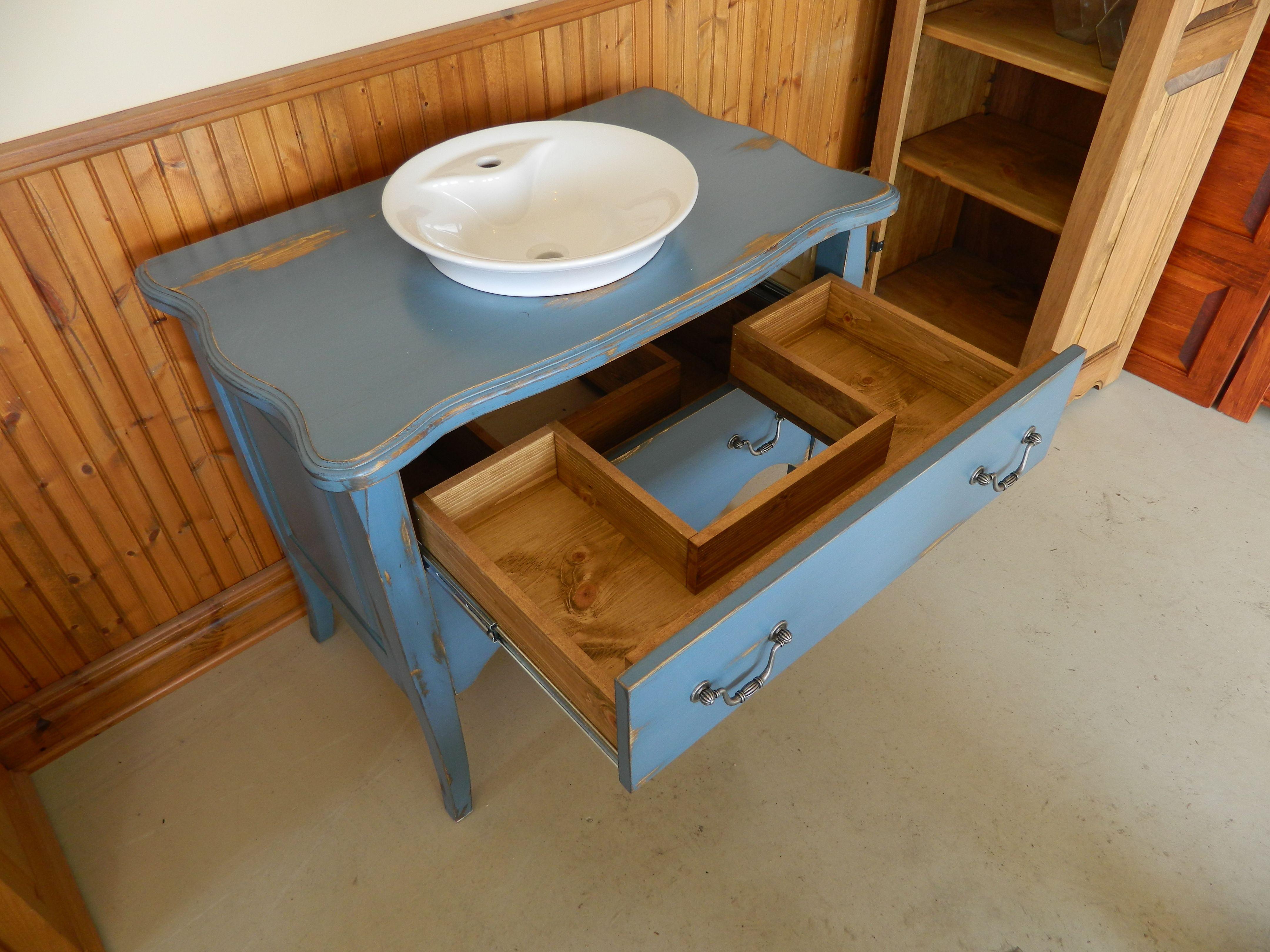 vanit salle de bain en pin bleue maritime homestead house style us tiroir en u - Salle De Bain Vanite Montreal
