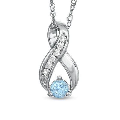 Zales Blue Topaz and 1/10 CT. T.W Diamond Triple Loop Pendant in Sterling Silver ZRdE4c