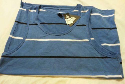 Men's Tank Top Shirt Sz L Roadblock NEW Blue Stripe