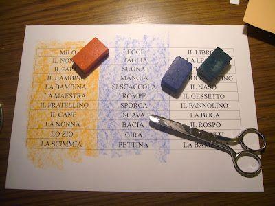 gioco: formate delle frasi usando ogni volta color giallo (soggetto) + color blu (verbo) + color bianco (oggetto)!