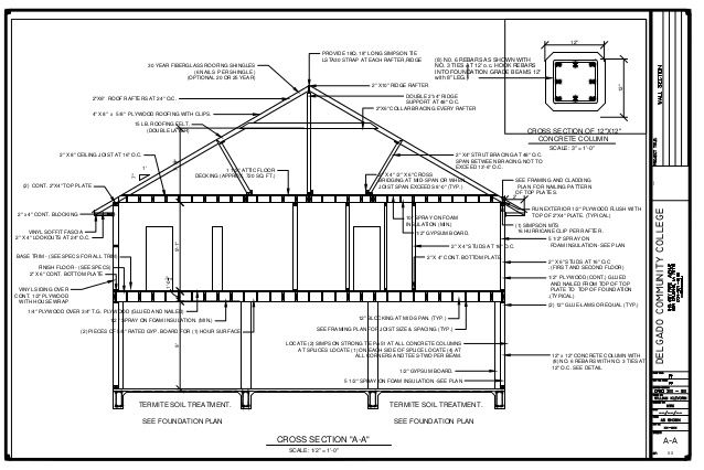 01 212 House Cross Section A A 2 Rafter Fibreglass Roof How To Plan