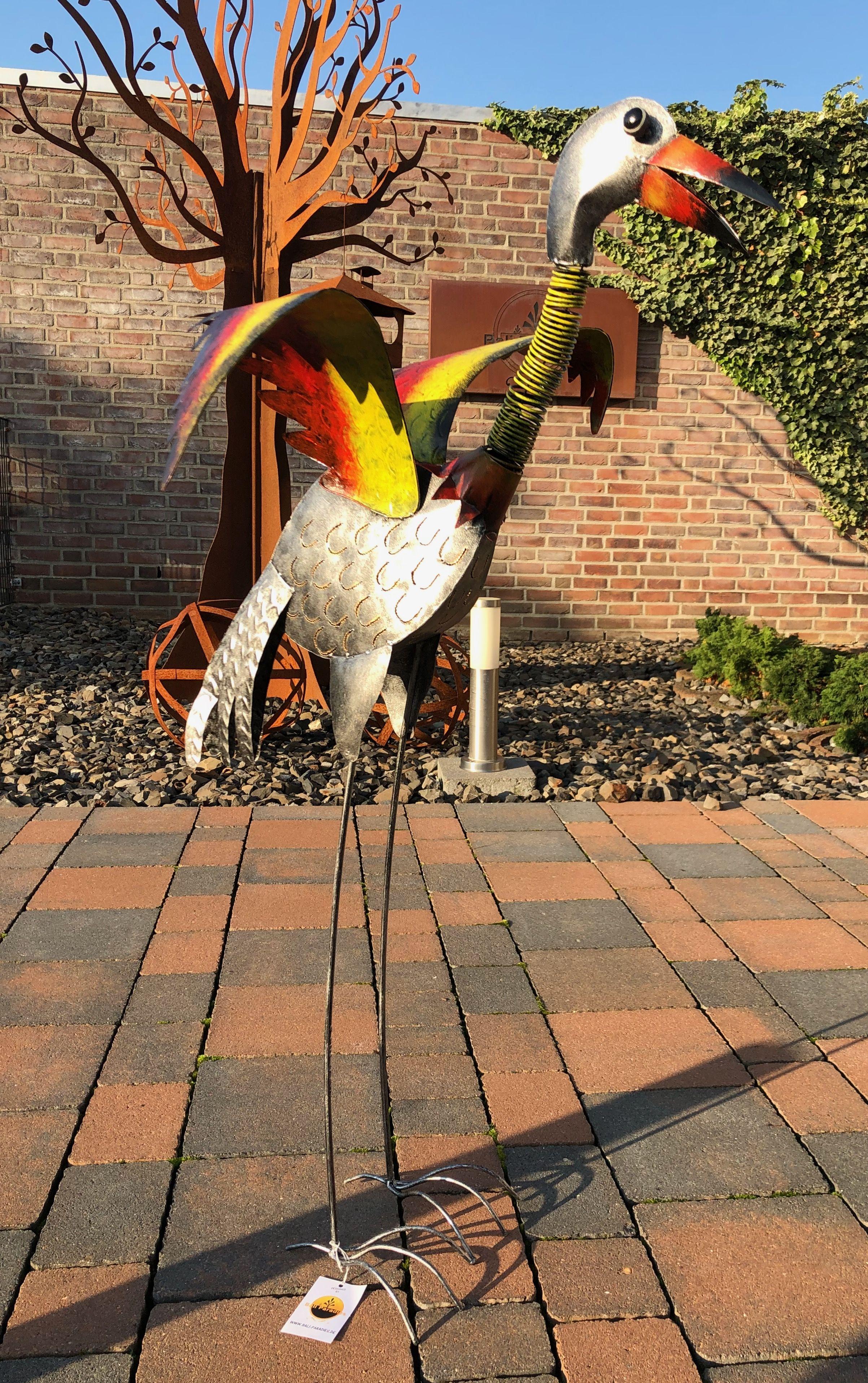 Große Vogel- Skulptur aus Metall für Wohnraum und Garten