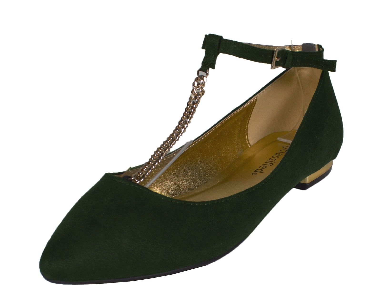 71d2fc5e46d City Classified Women Almond Toe Flats Ankle Strap Dark Green Faux Suede