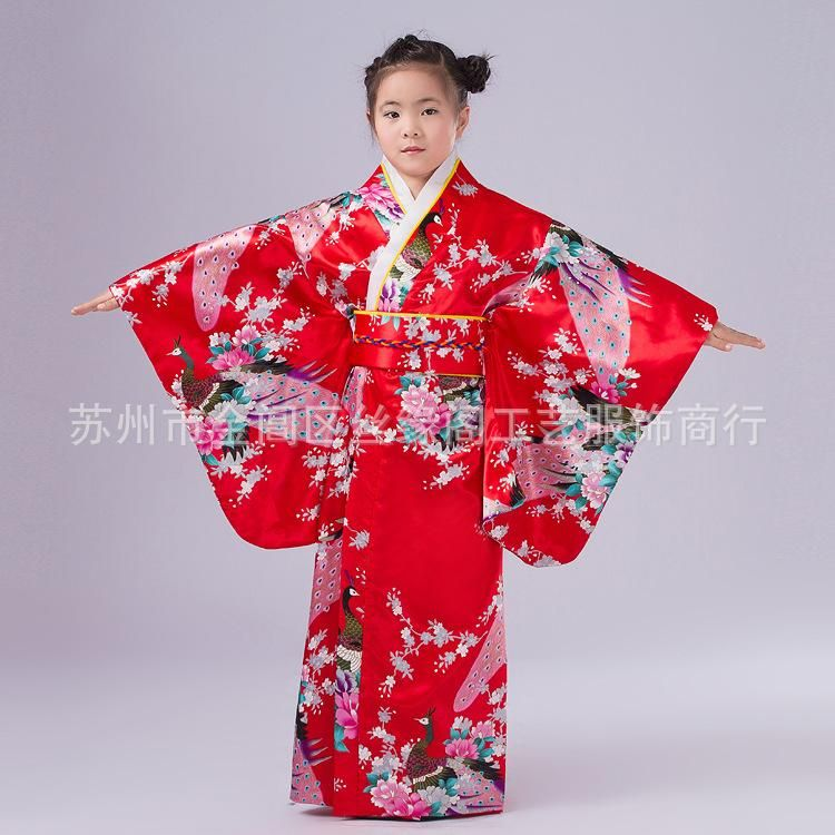 ee7ad0e4c Children Peacock Yukata Clothing Girl Japanese Kimono Dress Kids Yukata  Haori Costume Traditional Japones Kimono Costume Child