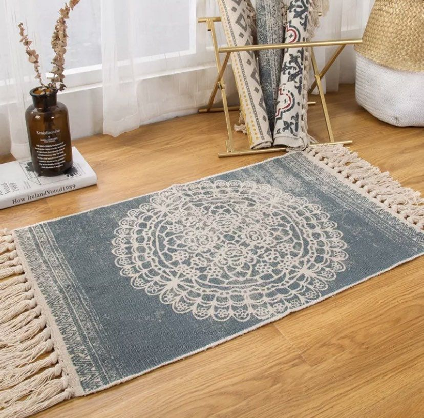 Excited To Share This Item From My Etsy Shop Retro Bohemian Hand Woven Cotton Linen Carpet Tassel Bedside Rug Geometr Geometric Floor Area Rugs For Sale Rugs
