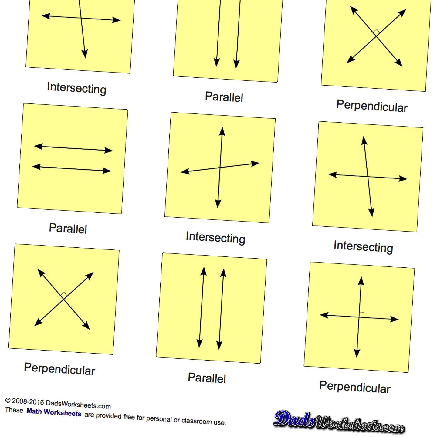 Geometry Worksheets with parallel, perpendicular and intersecting lines.