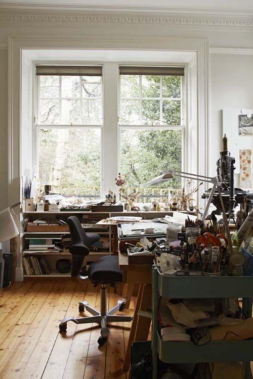 Angie Lewin, artist of St Jude's gallery in her Edinburgh studio.