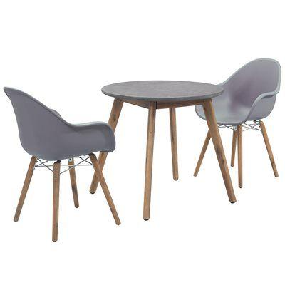Zari 2 Seat Bistro Dining Set in Anthracite Grey