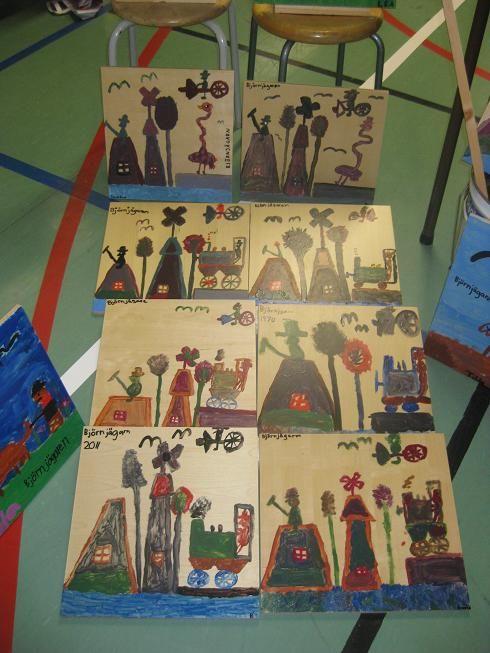 """Bilden nedan visar hur det kan se ut då elever målat av en av luffarnas konstverk.   Dessa visar luffaren Nils """" Björnjägarn """" Rundgrens tavlor."""