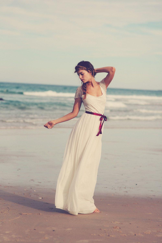 Boho beach style ivory french lace silk chiffon beaded wedding