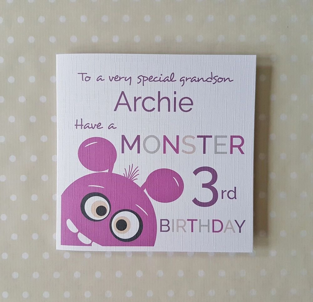 Personalised Boys Monster 2nd 3rd 4th Birthday Card