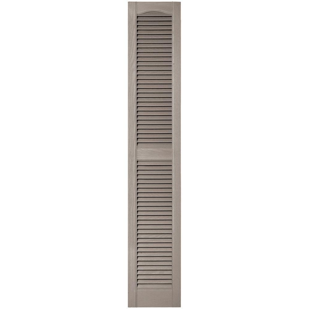 Builders Edge 12 in. x 67 in. Louvered Vinyl Exterior Shutters Pair in #008 Clay, 008 Clay