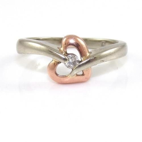 jewelry Solid 10K White Rose Gold Natural Diamond Heart Band Ring